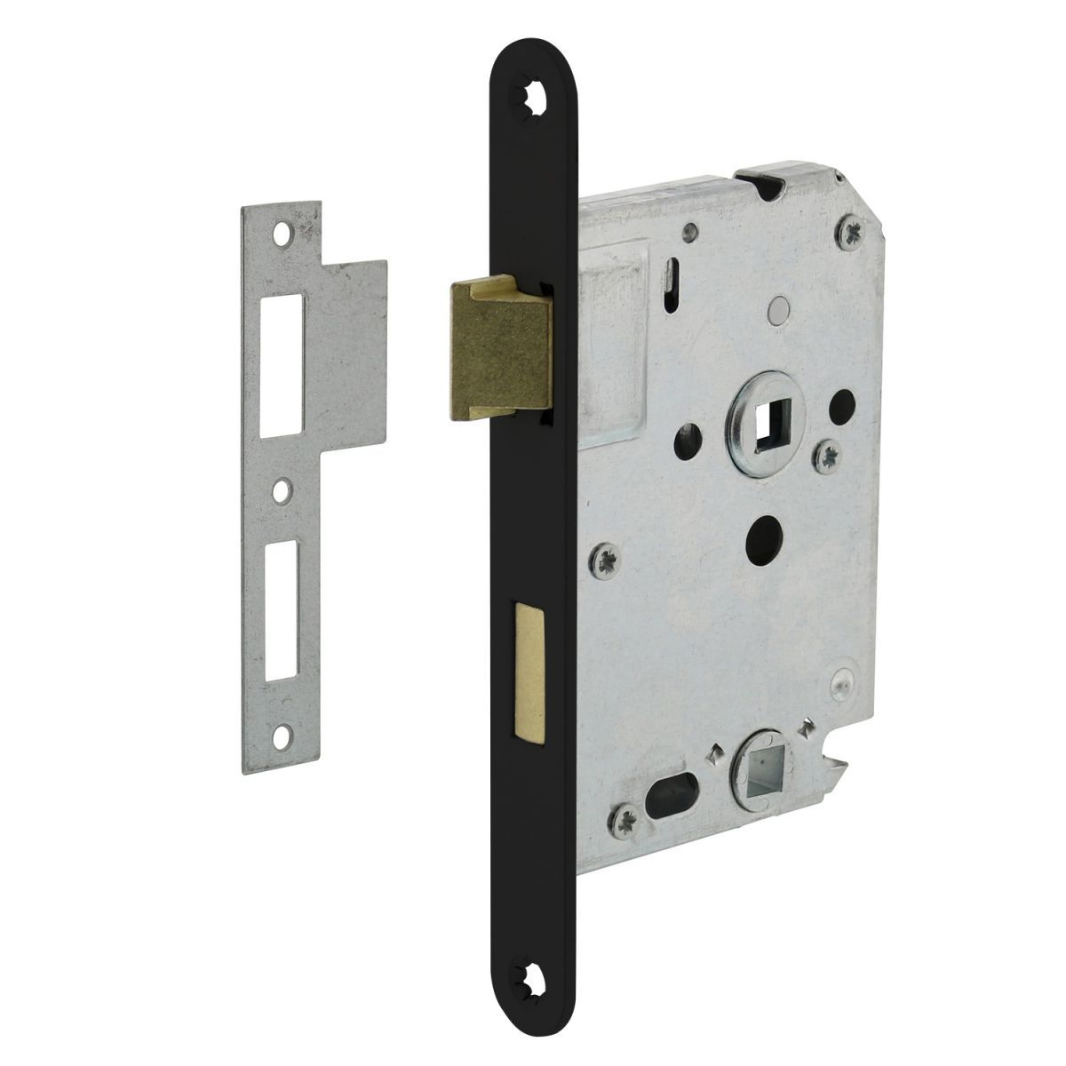 bathroom lock with black front plate