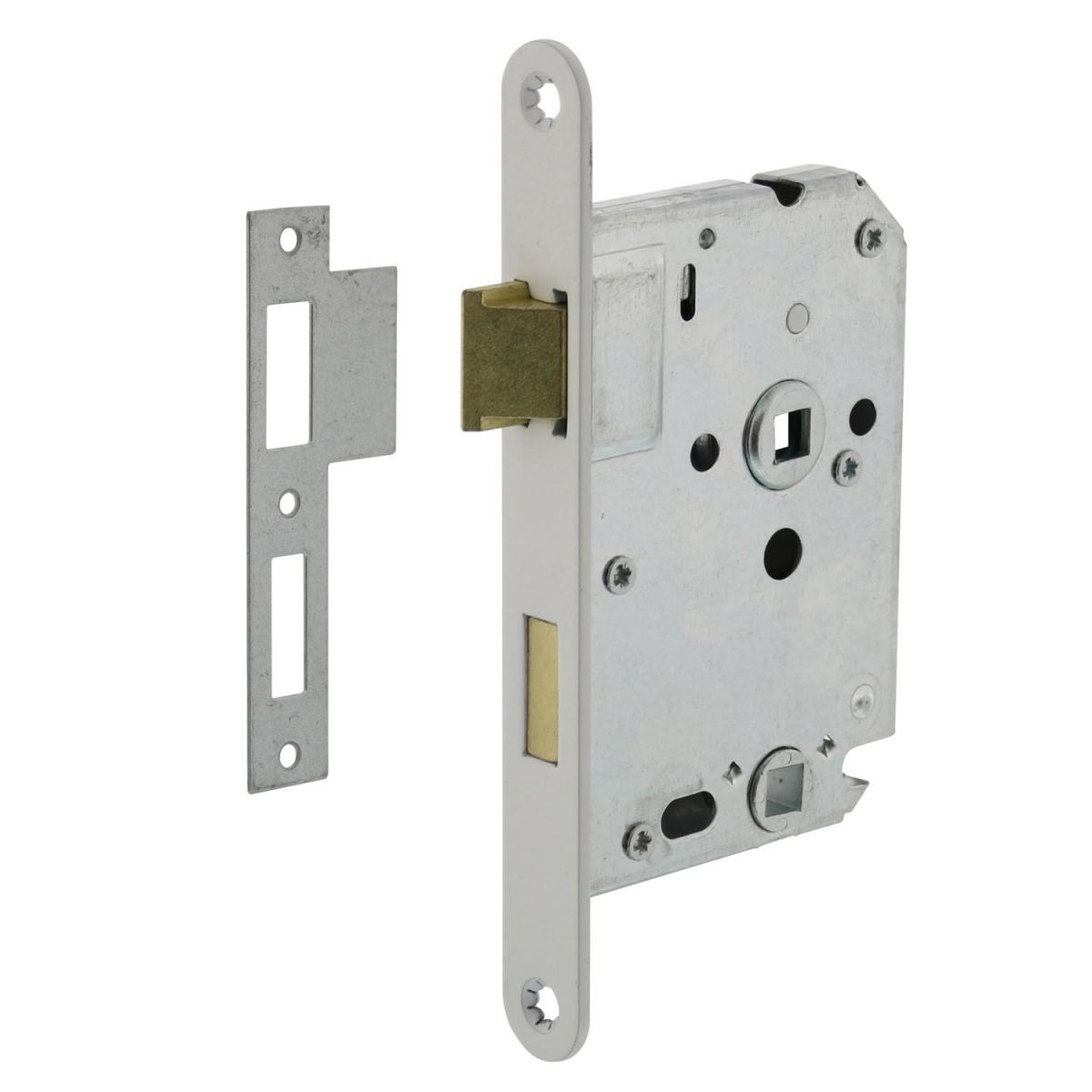 bathroom lock with white front plate