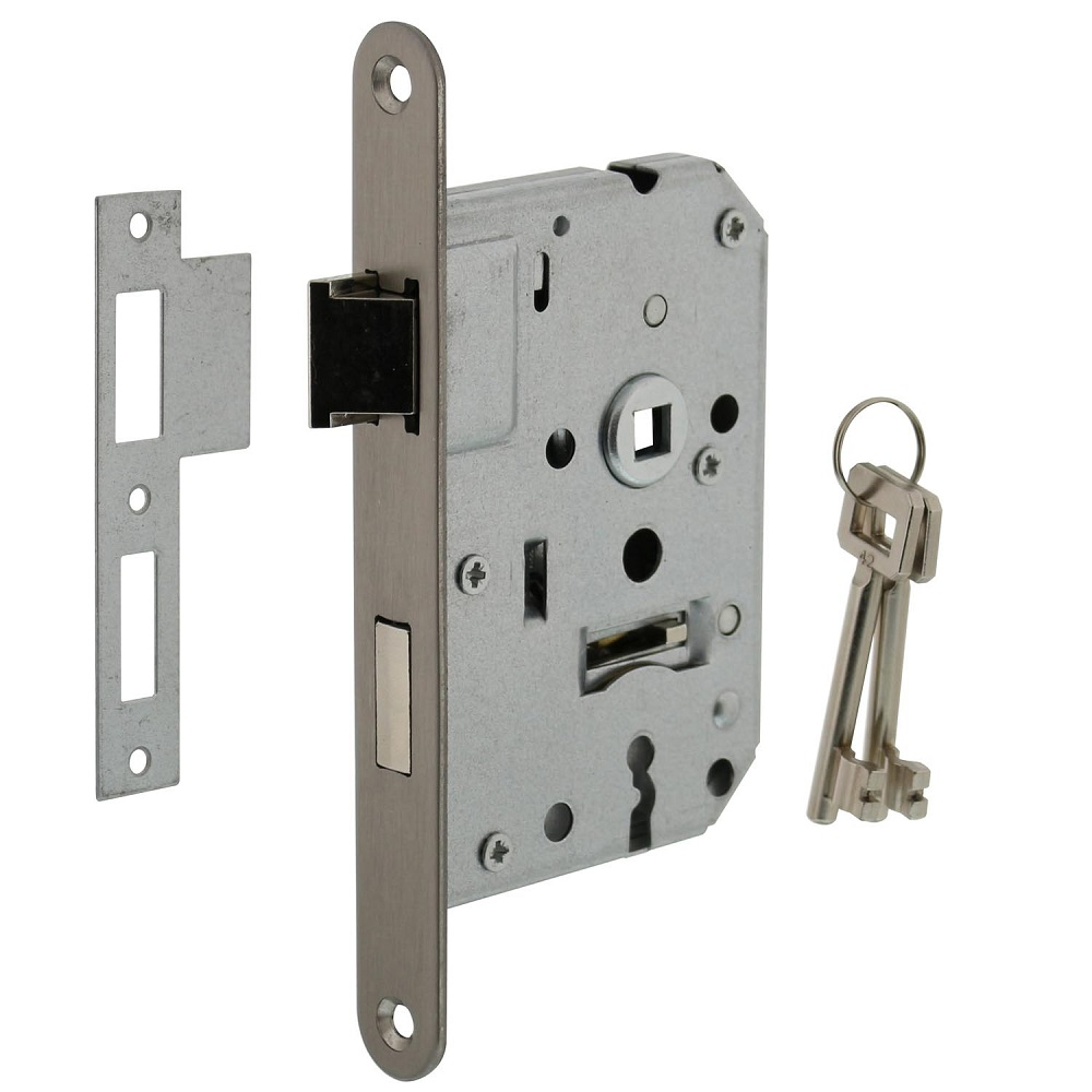 cabinet lock with stainless steel front plate