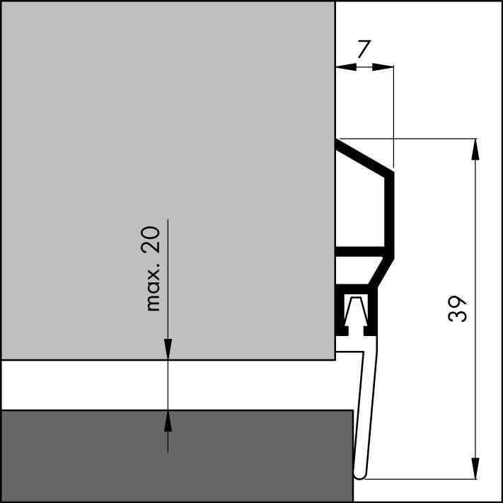 ellen door profile aluminum 1000mm