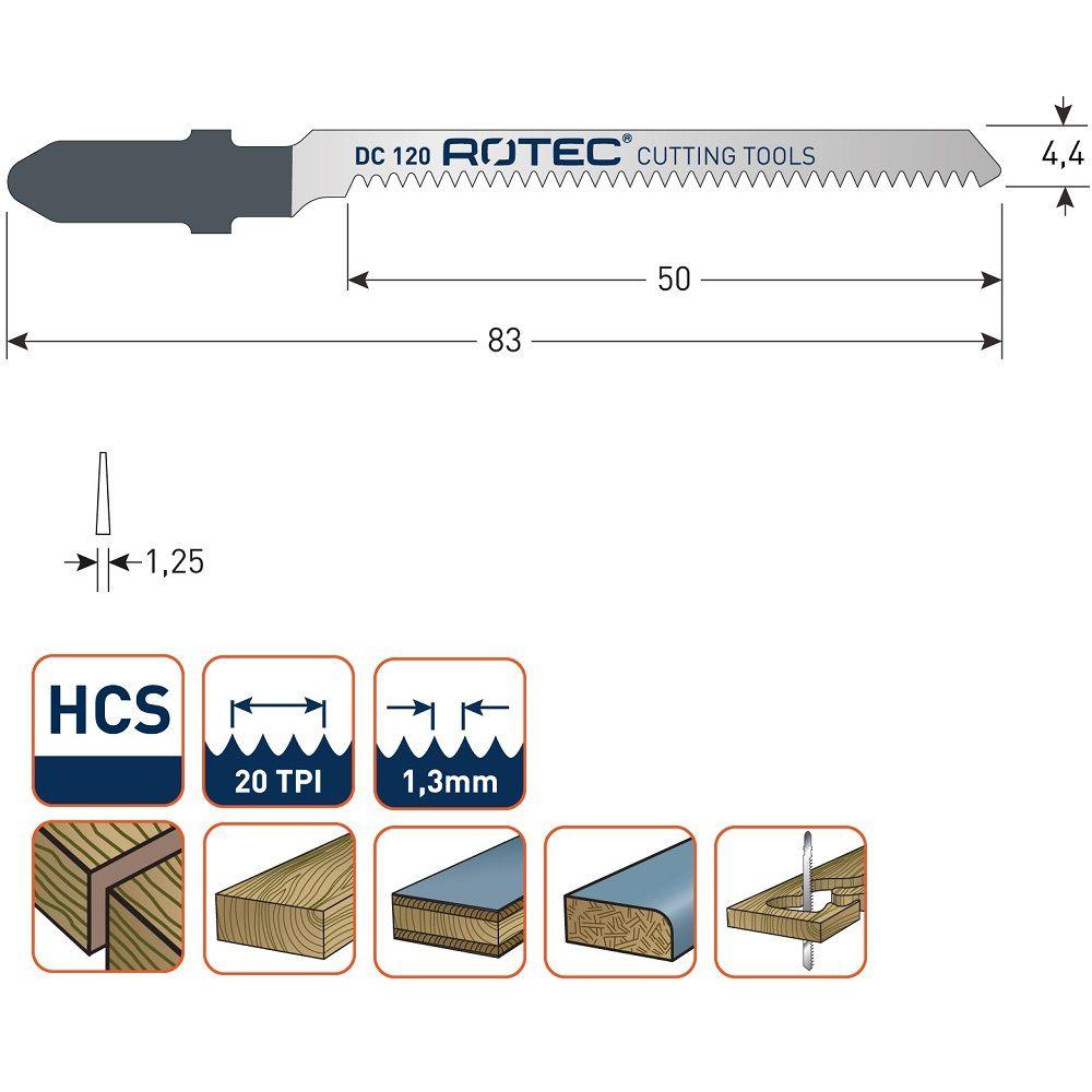 rotec dc120 jigsaw blade 5pcs