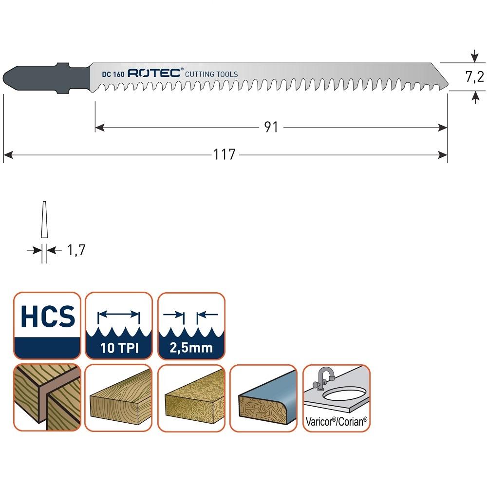 rotec dc160 jigsaw blade 5pcs