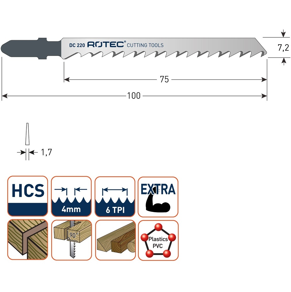 rotec dc220 jigsaw blade 5pcs