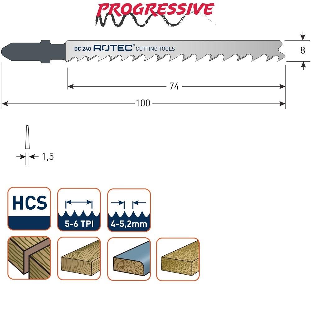 rotec dc240 jigsaw blade 5pcs