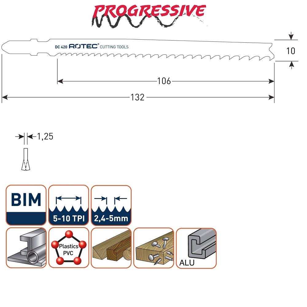 rotec dc420 jigsaw blade 5pcs