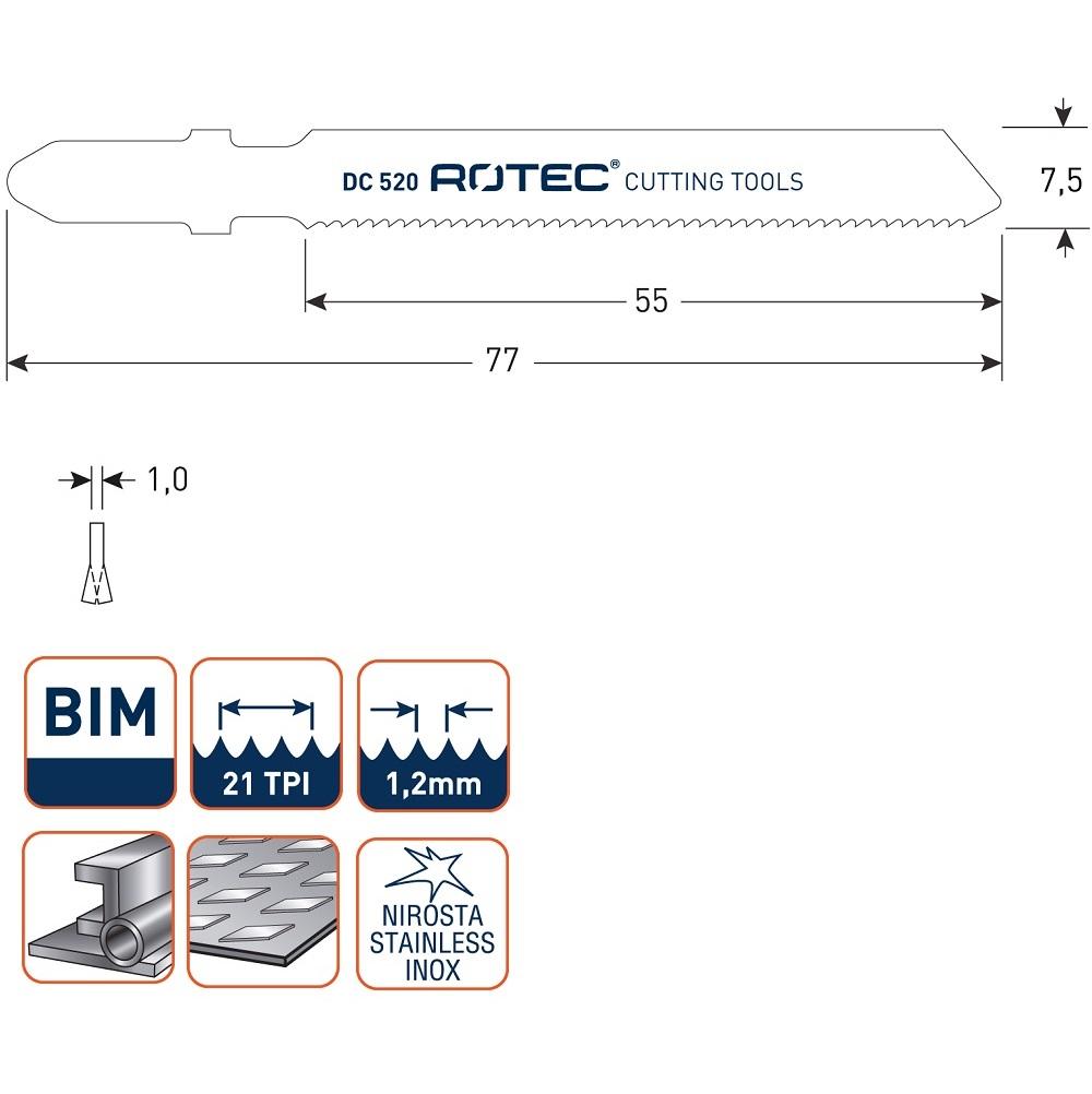rotec dc520 jigsaw blade 5pcs