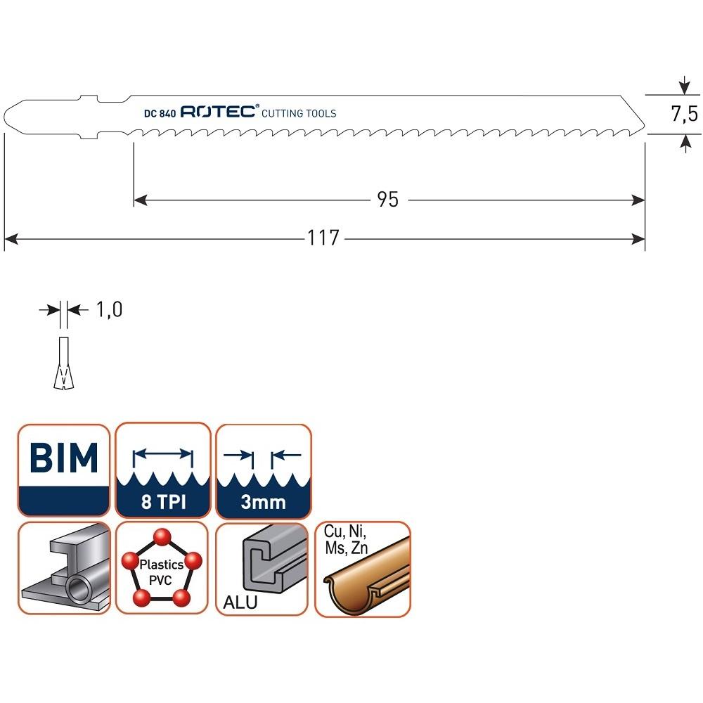 rotec dc840 jigsaw blade 5pcs