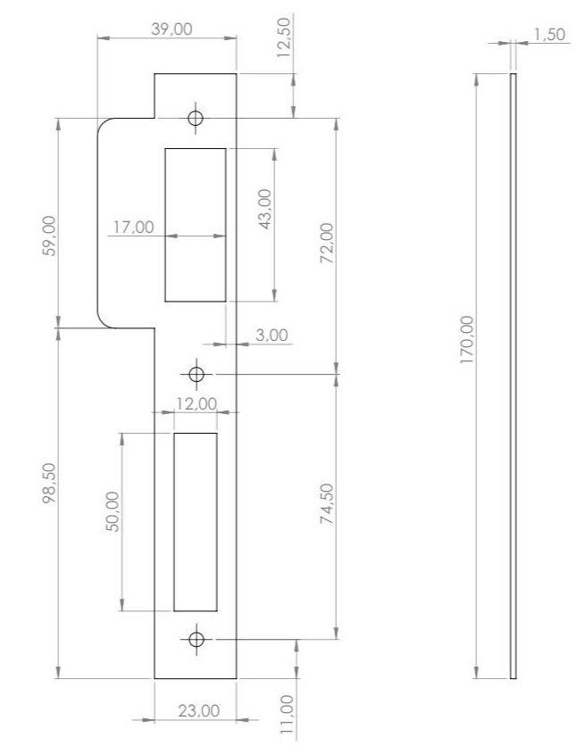 route template strike plate 170x23 right