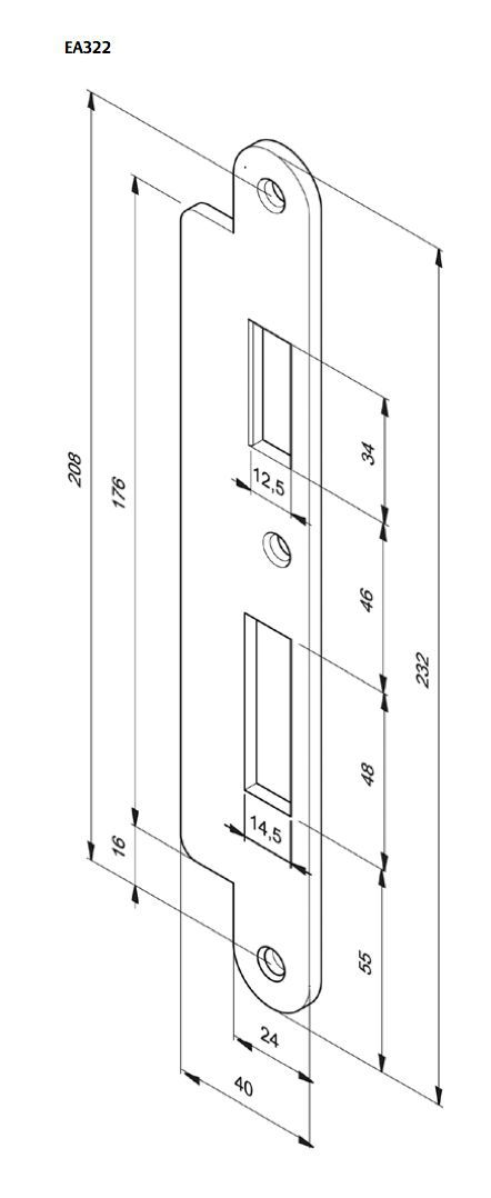 route template strike plate 232x24