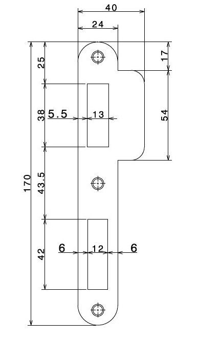 router template strike plate 170x24 left