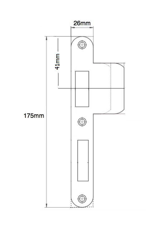 router template strike plate 175x26 right