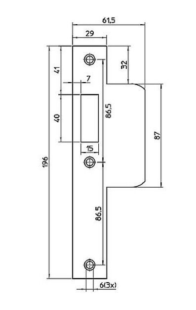 router template strike plate 196x29 left