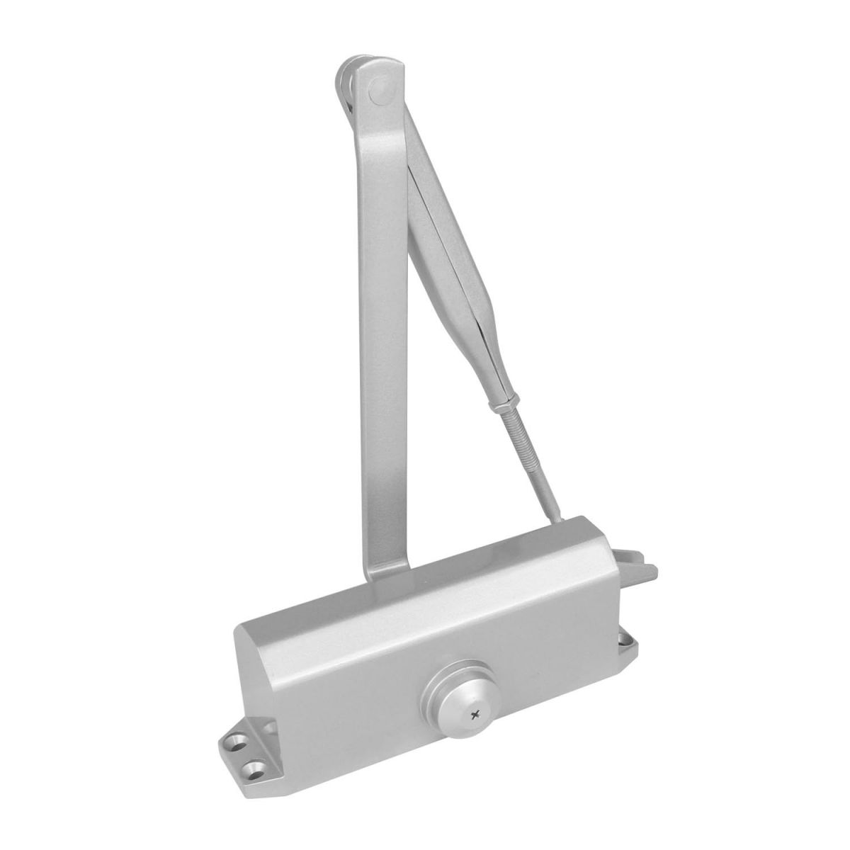 silver gray door closer